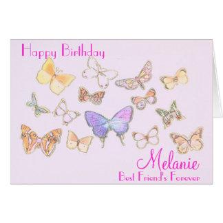 Tarjeta de cumpleaños de la mariposa de BFF