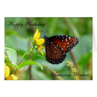 Tarjeta de cumpleaños de la mariposa de la reina