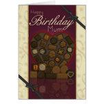 Tarjeta de cumpleaños de la momia - chocolates