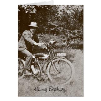 Tarjeta de cumpleaños de la motocicleta del vintag