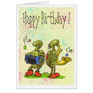 tarjeta de cumpleaños de la música de la tortuga