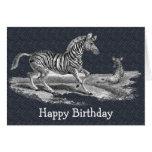 Tarjeta de cumpleaños de la naturaleza de la cebra