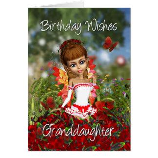Tarjeta de cumpleaños de la nieta con el prado de