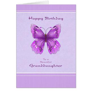Tarjeta de cumpleaños de la nieta - mariposa púrpu
