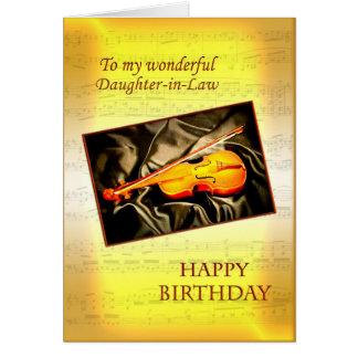 Tarjeta de cumpleaños de la nuera con un violín
