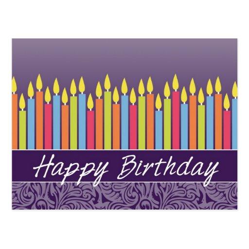 Tarjeta de cumpleaños de la oficina con las velas tarjeta postal