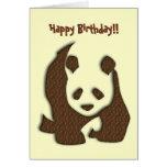 Tarjeta de cumpleaños de la panda del chocolate