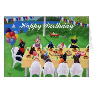Tarjeta de cumpleaños de la pintura del fiesta de