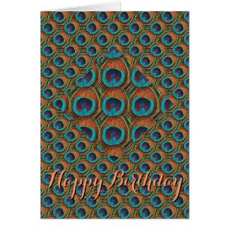 Tarjeta de cumpleaños de la pluma del pavo real