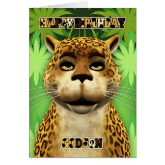 Tarjeta de cumpleaños de la selva del leopardo del