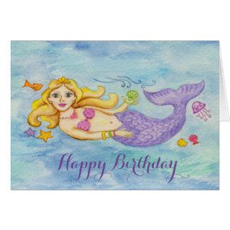 Tarjeta de cumpleaños de la sirena