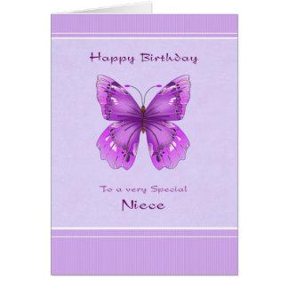 Tarjeta de cumpleaños de la sobrina - mariposa púr