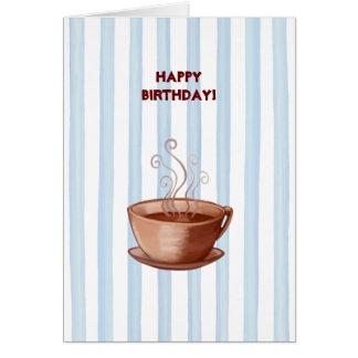 Tarjeta de cumpleaños de la taza de café