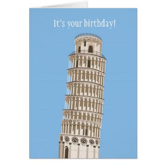 Tarjeta de cumpleaños de la torre inclinada