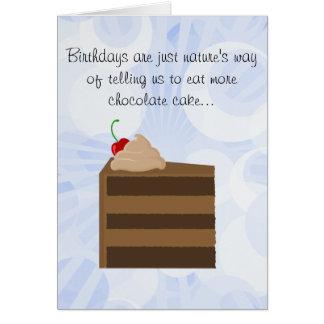 Tarjeta de cumpleaños de la torta de chocolate