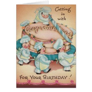Tarjeta de cumpleaños de la torta de los panaderos