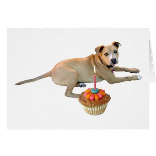 Tarjeta de cumpleaños de la torta del perro