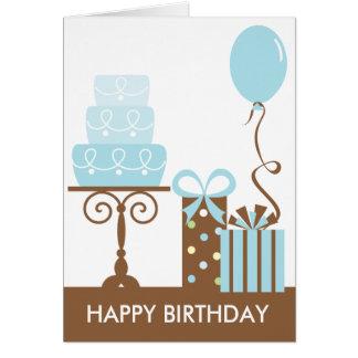 Tarjeta de cumpleaños de la torta y de los