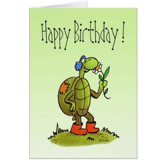 tarjeta de cumpleaños de la tortuga y de la flor