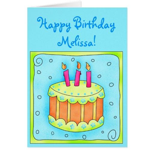 Tarjeta de cumpleaños de la turquesa con la torta