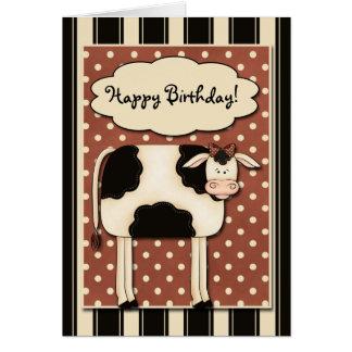Tarjeta de cumpleaños de la vaca del remiendo