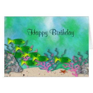 Tarjeta de cumpleaños de la vida marina
