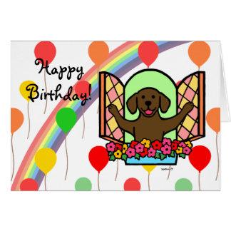 Tarjeta de cumpleaños de Labrador del chocolate (v