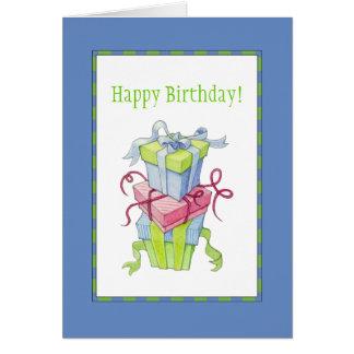 Tarjeta de cumpleaños de las cajas de regalo
