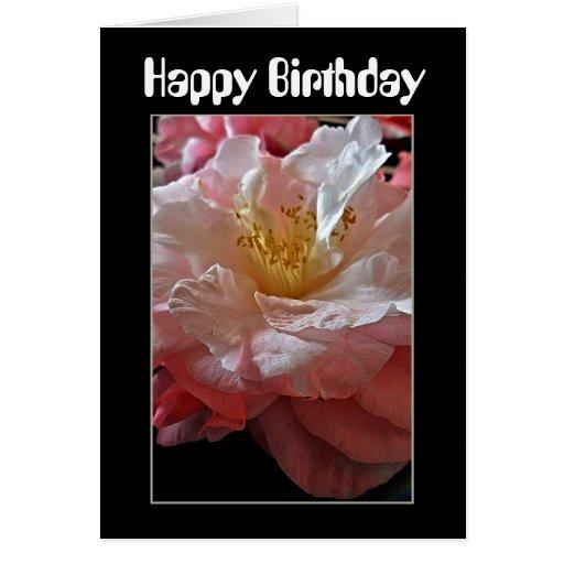 Tarjeta de cumpleaños de las camelias de Bloomin