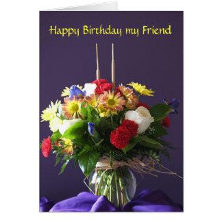 Tarjeta de cumpleaños de las flores para el amigo