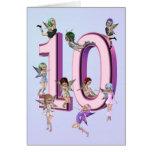 Tarjeta de cumpleaños de las hadas de la flor 10ma
