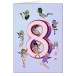 Tarjeta de cumpleaños de las hadas de la flor 8va