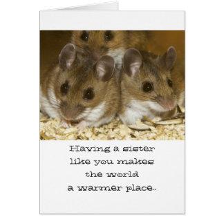 Tarjeta de cumpleaños de las hermanas de los raton