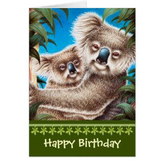 Tarjeta de cumpleaños de las koalas