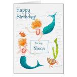 Tarjeta de cumpleaños de las sirenas para una