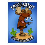 Tarjeta de cumpleaños de los alces del vaquero