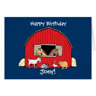 Tarjeta de cumpleaños de los animales del campo de