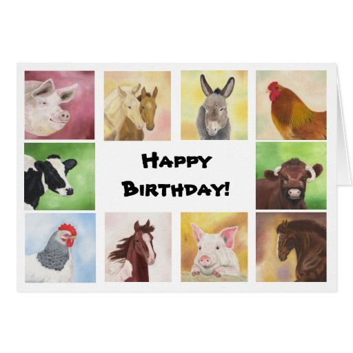 Tarjeta de cumpleaños de los animales del corral