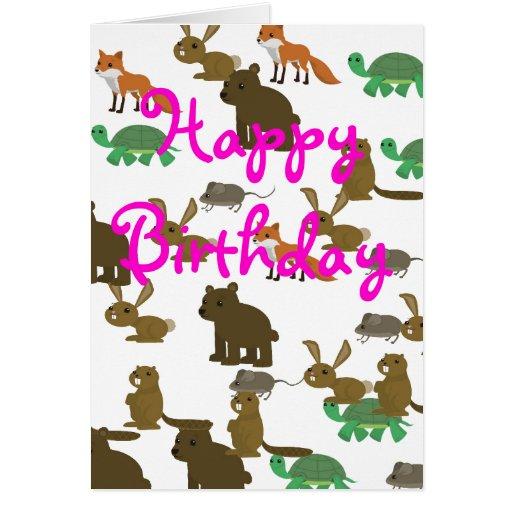 Tarjeta de cumpleaños de los animales del dibujo a