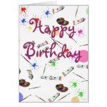 Tarjeta de cumpleaños de los artistas