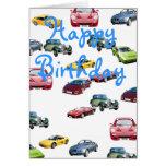 Tarjeta de cumpleaños de los coches