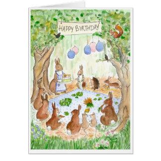 """""""Tarjeta de cumpleaños de los conejos de conejito"""""""