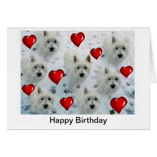 Tarjeta de cumpleaños de los corazones de Westie