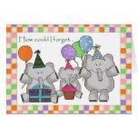 Tarjeta de cumpleaños de los elefantes del cumplea
