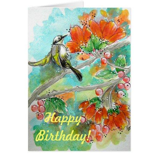 Tarjeta de cumpleaños de los flores del pájaro y d
