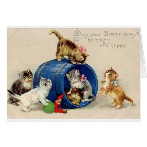 Tarjeta de cumpleaños de los gatitos del Victorian