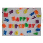 Tarjeta de cumpleaños de los imanes de la letra