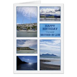 Tarjeta de cumpleaños de los paisajes marinos para