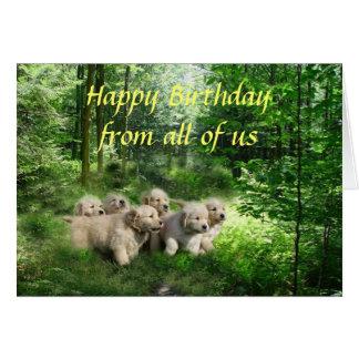 Tarjeta de cumpleaños de los perritos del golden r