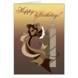 Tarjeta de cumpleaños de los pescados de la torta